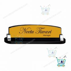 Desk Name Plate Gold Double Layer